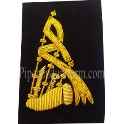 Black Bagpipe Embroidered Badge - Gold Bullion Wire