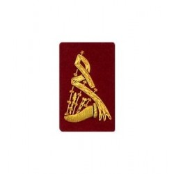 Red Bagpipe Embroidered Badge - Gold Bullion Wire
