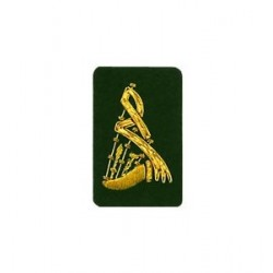 Green Bagpipe Embroidered Badge - Gold Bullion Wire