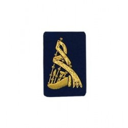 Blue Bagpipe Embroidered Badge - Gold Bullion Wire