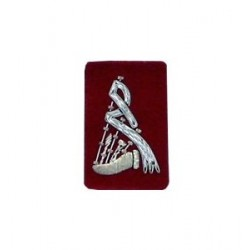 Red Bagpipe Embroidered Badge - Silver Bullion Wire