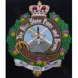 The Blue Stone Pipes & Drums Embroidery Cap Badge