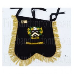 Custom Made Hand Embroidered Black Pipe Band Banner