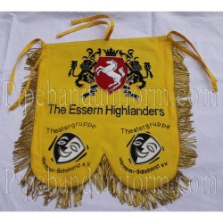 Custom Made Hand Embroidered Yellow/Gold Pipe Band Banner