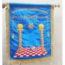 Sky Blue Hand Embroidered Custom Banner - Den Norske Frimurerorden