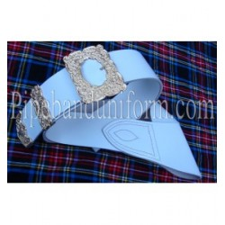 White Leather Piper Cross Belt with Gold Buckles