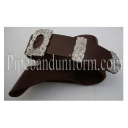 Chocolate Brown Leather Piper Cross Belt with Silver Buckles