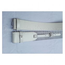 White Leather Pipers Drummers Waist Belt with Silver Buckles