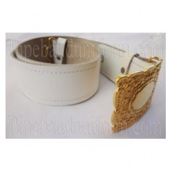 White Leather Pipers Drummers Waist Belt with Gold Buckles