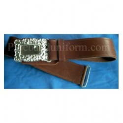 Brown Leather Pipers Drummers Waist Belt with Silver Buckles