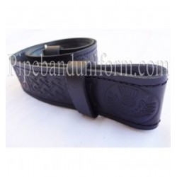 Black Embossed Leather Pipers Drummers Waist Belt with Silver Buckles