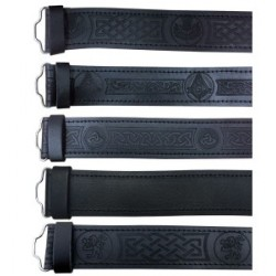 Black Embossed Leather Pipers Drummers Waist Belt