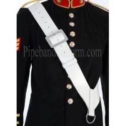 White Leather Side/Tenor Drum Sling Cross Belt