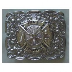 Maltese Cross Waist Belt Buckle with Firefighter Dept. Badge