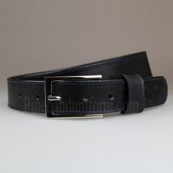 Black Business Belt with Slimline Nickel Buckle 30mm Width