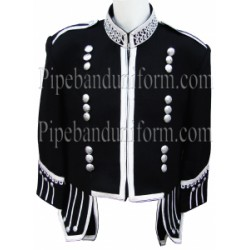 Black Pipe Band Doublet Military Jacket