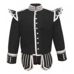 Black Pipe Band Tunic Doublet Jacket