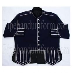 Navy Blue Pipe Band Doublet Kilt Jacket