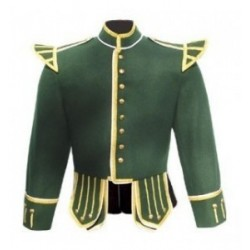 Green Pipe Band Doublet Military Jacket