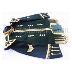 Dark Green Pipe Major Doublet Kilt Jacket