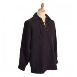 Black Jacobite Ghillie Kilt Cotton Shirt