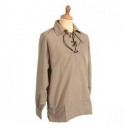Cream Calico Jacobite Ghillie Kilt Cotton Shirt