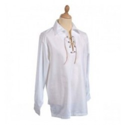White Jacobite Ghillie Kilt Cotton Rich Shirt