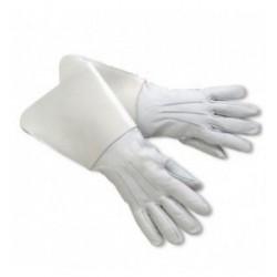 Drum Major Gauntlets - White Leather Gloves