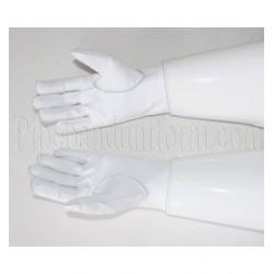 Drum Majors White Leather Gauntlet Gloves - Royal Marines Pattern