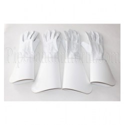 Royal Marines Pattern Tenor & Bass Drummers White Leather Gauntlet Gloves