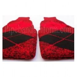 Black Red Pipe Major Hose Tops - Half Hoses