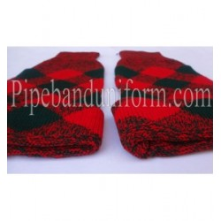 Red Green Diced Pipe band Hose Tops - Half Hoses