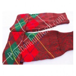 Green Red Pipers Drummers Hose Tops - Half Hoses