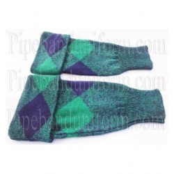 Green Blue Diced Pipe Band Hose Tops - Half Hoses