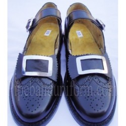 Pipers Black Leather Buckle Brogue Band Shoes