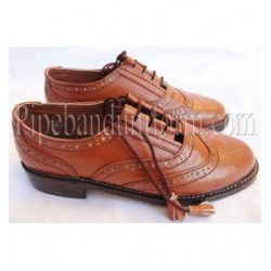 Brown Leather Pipers Drummers Ghillie Brogue Shoes