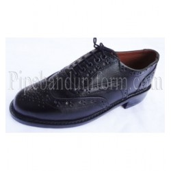 Pipe Major Black Leather Ghillie Brogue Shoes