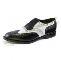 White and Black Leather Drummers Ghillie Brogue Shoes