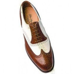 Brown and White Leather Ghillie Brogue Shoes
