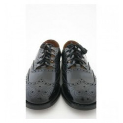 Wide Fitting Black Leather Ghillie Brogue Shoes