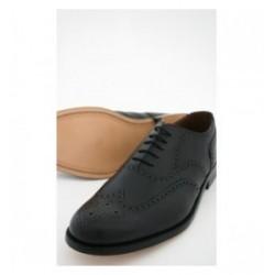 Standard Uniform Black Leather Ghillie Brogue Shoes