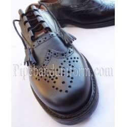 Piper Drummer Black Leather Ghillie Brogue Shoes