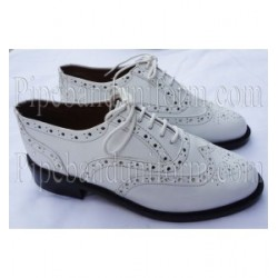 White Leather Military Pipe Band Ghillie Brogues