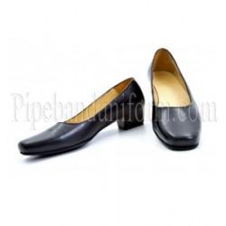 Plain Black Leather Female Court Shoes
