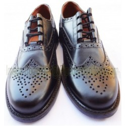 Black Leather Pipe Band Ghillie Brogue Shoes
