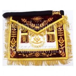Embroidered Grand Lodge Master Mason Maroon Masonic Apron