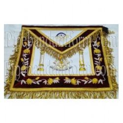 Embroidered Past Master Maroon Masonic Apron