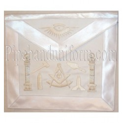 Embroidered Past Master Tool White Masonic Apron