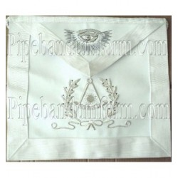 Embroidered Paster Master White Masonic Apron