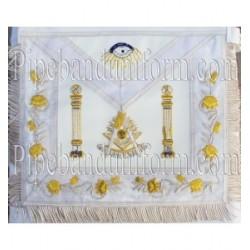 Embroidered Grand Past Master White Masonic Apron